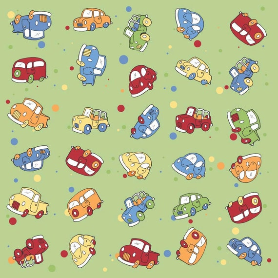 Green and Multi Color Car Flannel, 1 Yard