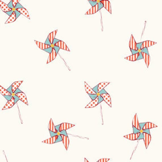 Aqua and Orange Pinwheel Fabric, Children At Play Over the Fence By Sarah Jane for Michael Miller, Pinwheels Print in Cream, 1 Yard