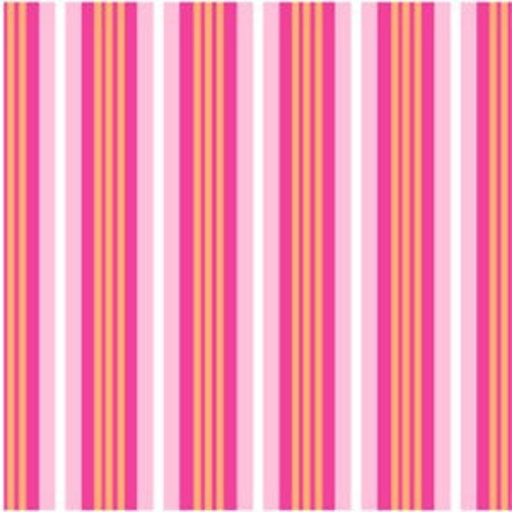 Pink and Orange Stripe Fabric, Little Menagerie for Windham, 1 Yard