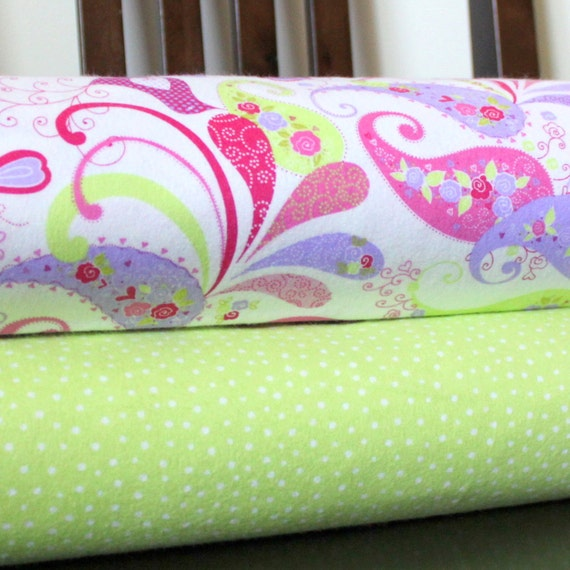 Purple Pink and Green Paisley and Bird Green Polka Dot Flannel Blanket Bundle, 2 yards