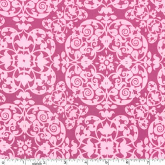 Purple Geometric Scroll Fabric, Secret Garden By Sandi Henderson for Michael Miller, Vintage Ironwork in berry, 1 Yard