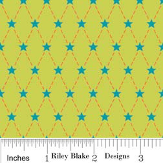 Green and Blue Argyle, Alphabet Soup By Zoe Pearn for Riley Blake, Argyle Print in Green, 3 Yards 14 inches