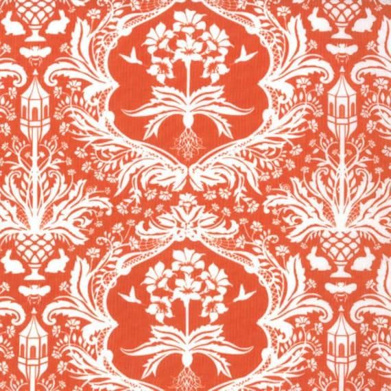Orange Damask Fabric, Flora by Lauren and Jessi Jung for Moda, Flora Garden Damask in Tangerine, 1 yard