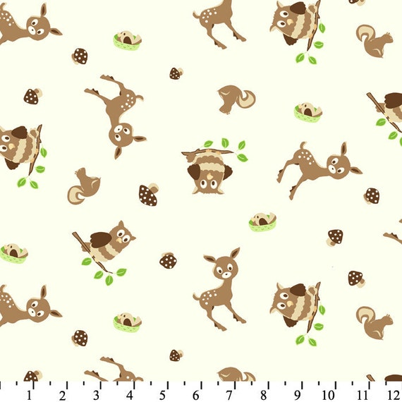 Deer and Owl Toss Flannel, 1 Yard