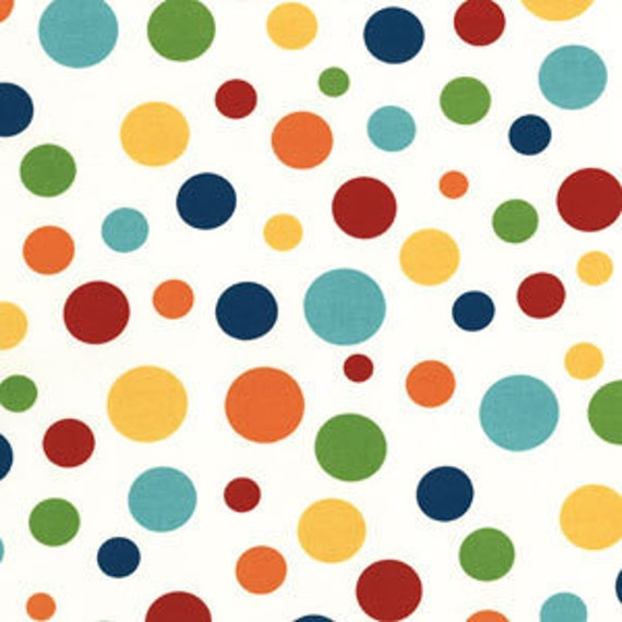 Bright Multi Primary Color Fabric, Dick and Jane for Michael Miller, Lolli Dot Print in Play, 1 Yard