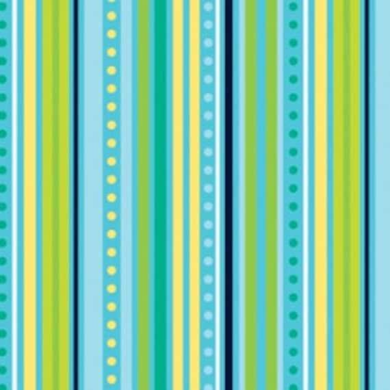 Bright Aqua and Green Stripe Fabric, Modern Blossom from Blue Hill Fabrics, Stripe Print in Blue, 1 Yard