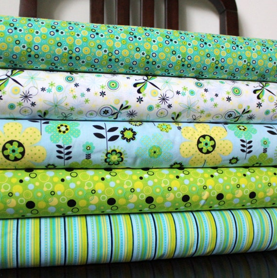 Bright Blue and Green Floral Fabric, Modern Blossom from Blue Hill Fabrics, Fat Quarter Bundle, 5 Fat Quarters Total