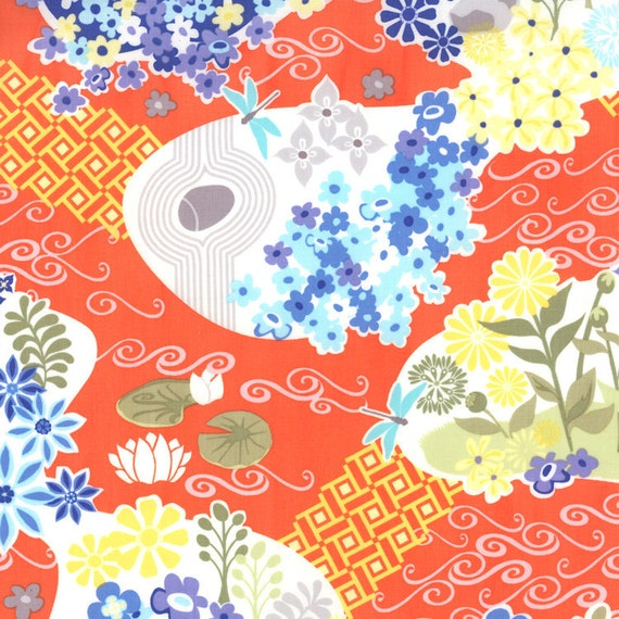Orange and Blue Flower Fabric, Good Fortune By Kate Spain by Moda, Pond Garden Print in Spirit Orange,  23 Inches