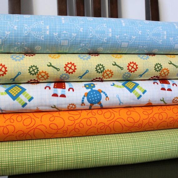 Bright Boy Robot Cotton Fabric, Robot Factory for Robert Kaufman, Fat Quarter Bundle, 5 Prints Total