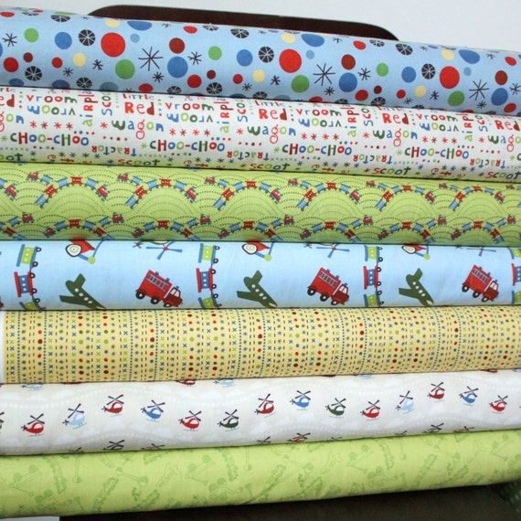 Blue Red and Green Boy Train Fabric, Scoot for Riley Blake, Fat Quarter Bundle, 7 Prints Total