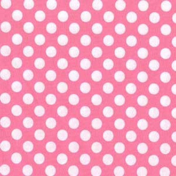 Pink and White Polka Dot Fabric, Ta Dot for Michael Miller in Candy Pink, 1 Yard