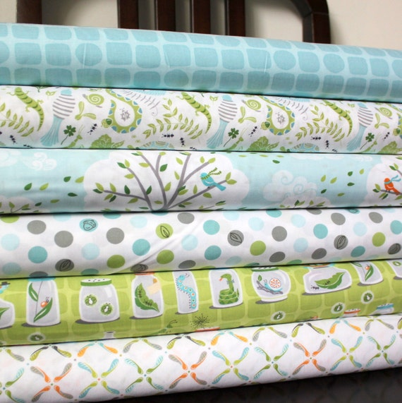 Green and Blue Boy Animal Fabric, Backyard Baby for Michael Miller, Fat Quarter Bundle, 6 Prints Total