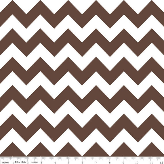 Brown and White Chevron Cotton for Riley Blake, 1 Yard