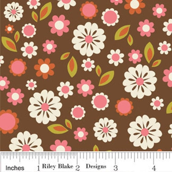 Brown and Pink Floral Flannel, Indian Summer By Zoe Pearn for Riley Blake, Floral Print in Brown Flannel, 1 Yard