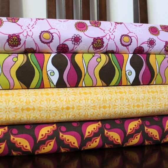 Bright Purple Floral Fabric, Lola's Posies By Lila Tueller for Riley Blake, Fat Quarter Bundle, 4 Prints