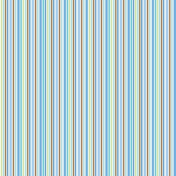Blue Green and Brown Stripe Flannel By Doodlebug Designs, 1 Yard