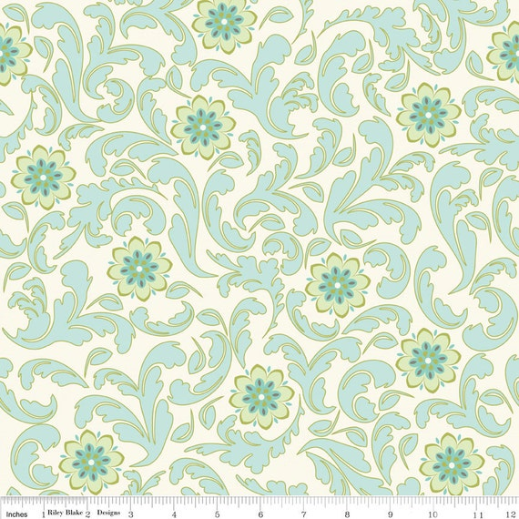 Teal and Gray Damask Fabric, Verona by Emily Taylor for Riley Blake, Damask Print in Teal, 1 Yard
