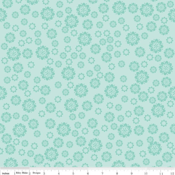 Aqua Teal Floral Fabric, Verona by Emily Taylor for Riley Blake, Flowers Print in Teal, 1 Yard
