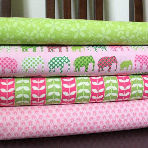 Pink and Green Elephant Fabric, Robert Kaufman Urban Circus Pink Elephants, Fat Quarter Bundle, 4 Prints