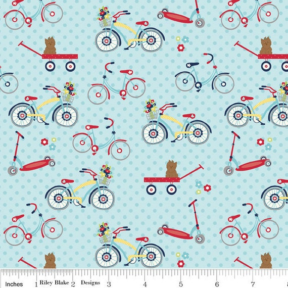Blue Red and Green Bike Fabric, Dress Up Days For Riley Blake, Bike Print in Blue, 1 Yard