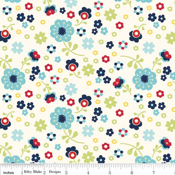 Blue and Red Floral Fabric, Dress Up Days For Riley Blake, Floral Print in Blue, 1 Yard