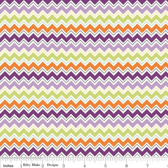 Purple and Orange Chevron Fabric, Dress Up Days For Riley Blake, Chevron Print in Grape, 1 Yard