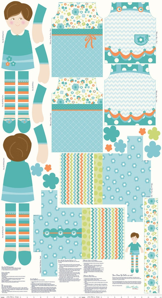 Aqua and Orange Doll Panel Fabric, Dress Up Days For Riley Blake, Panel in Auqa, 24 Inches