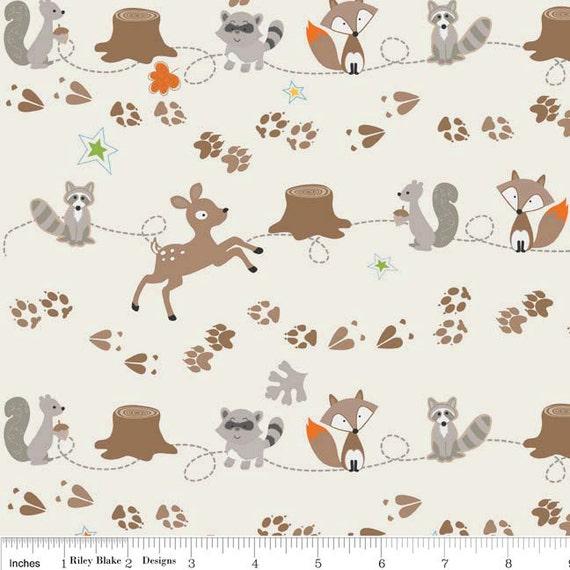 Fox and Raccoon FLANNEL Fabric, Fox Trails For Riley Blake, Friends Print in Cream Flannel, 1 yard
