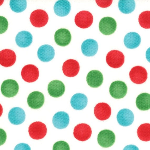 Listing for MonkeyTees - Aqua Red and Green Polka Dot Fabric,  7 yards