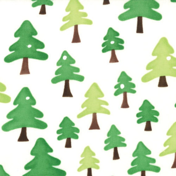 Green Christmas Tree Fabric, Ready Set Snow From Me and My Sister for Moda, Snow On Trees Print in Green and White, 1 yard
