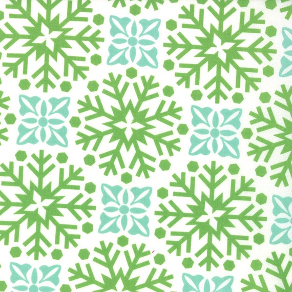 Aqua and Green Snow Flake Damask Fabric, Joy By Kate Spain for Moda, Winter Garden in Snow Holly, 1 yard