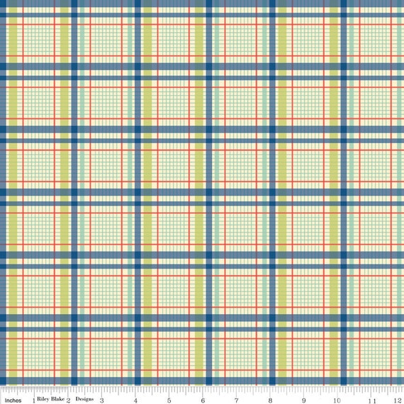 Blue Green and Red Plaid Fabric, Seaside by October Afternoon for Riley Blake, Trunks Print in Blue, 1 Yard