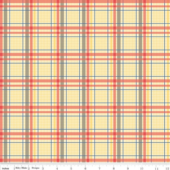 Red Grey and Yellow Plaid Fabric, Seaside by October Afternoon for Riley Blake, Trunks Print in Red, 1 Yard