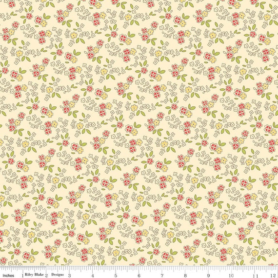 Cream Red and Yellow Vintage Floral Fabric, Seaside by October Afternoon for Riley Blake, Chair Print in Cream, 1 Yard