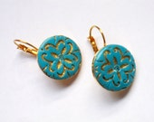 Round Polymer Clay Earrings in Turquoise and gold Elegant and simple