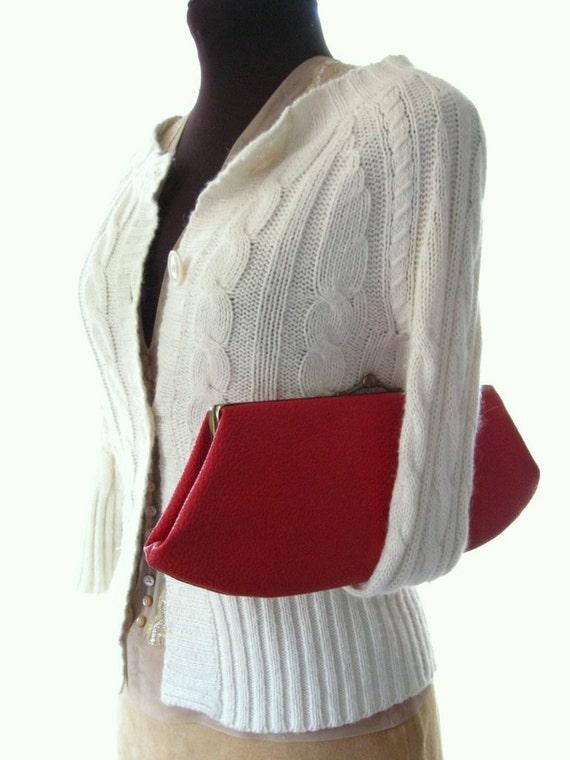 50s elongated red kiss-lock clutch