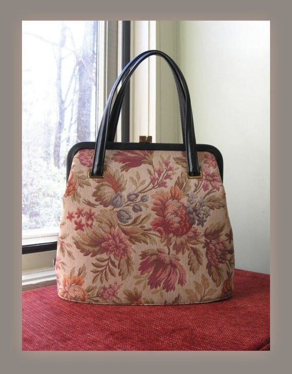 reserved ... a 1950's tapestry bag / 50s vintage kelly bag purse in lush Autumnal florals