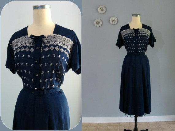 reserved ... a 1940s dress / 40s vintage eyelet lace Navy Blue Cotton Batiste Day Dress by Pat Perkins ... 37 waist