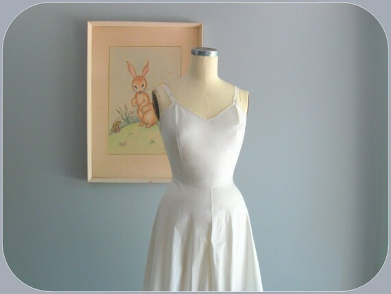 1940's slip / 40s 50s vintage white mercerized cotton crinoline slip dress ... size S/M