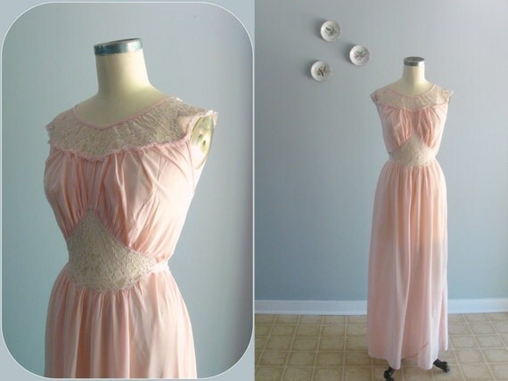 40s nightgown / 1940s vintage bias-cut silky Pink Nylon & Lace gown ... size L/XL