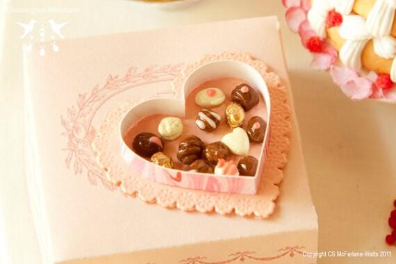 SALE - Valentines Chocolates 1/12 scale dollhouse miniature