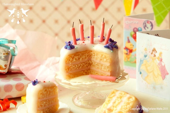 Violets and Vanilla Birthday Cake 1/12 scale dollhouse miniature