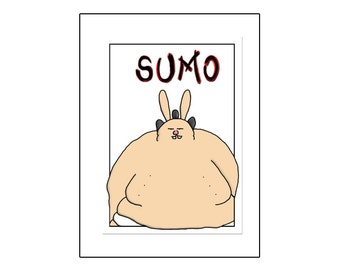Sumo Bunny - Greeting Card
