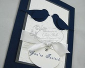 Featured in Treasury - DEPOSIT Navy and Gray Love Birds Wedding Invitation