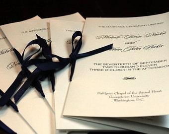 Custom Booklet Wedding Program with Satin Ribbon Tie - Deposit