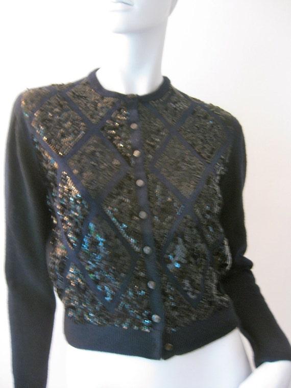 Beautiful 50s Rockabilly Black geometric sequin Orlon Cardigan Sweater By BLAIRMOOR