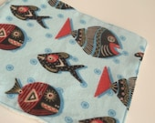 Baby Wipes in Tribal Fish Print, Flannel, Organic Bamboo Terry - Set of SIX