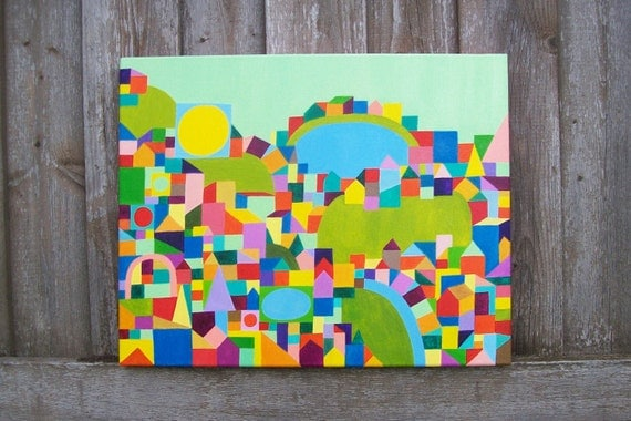 Children Decor Primary Colors Nursery Art Colorful Geometric Painting Seafoam  20x 18""