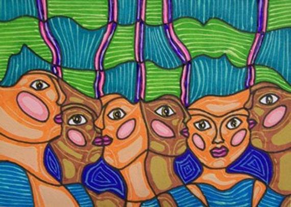Revserved for A.S. Original ACEO Folk Art Women Artist Trading Card