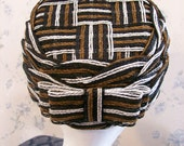 Vintage Hat Woven by Lady Bess, Black, White, and Brown with Bow